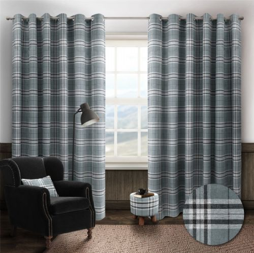 STYLISH TRENDY RINGTOP EYELET LINED HIGHLAND MIST TARTAN CHECK CURTAINS GREY COLOUR